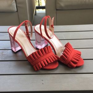 2ec525b2bf4 Urban Outfitters Shoes - Urban Outfitters Red Rachel Lucite Block Heels